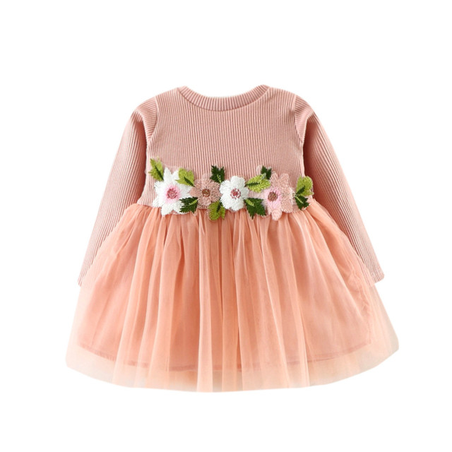 349cc3ff5fec Sweet Baby Girl Floral Tutu Long Sleeve Princess Dress Cute Girls O ...