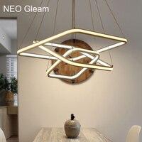 NEO Gleam квадратный высокое Яркость двойной Glow Современные светодиодные люстры для столовой кухня комнаты Алюминий белый висит люстра
