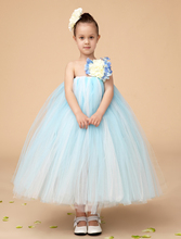 Fashion sky blue Ball Gown Tulle little girl dresses with flower kids girl party dress TUTU