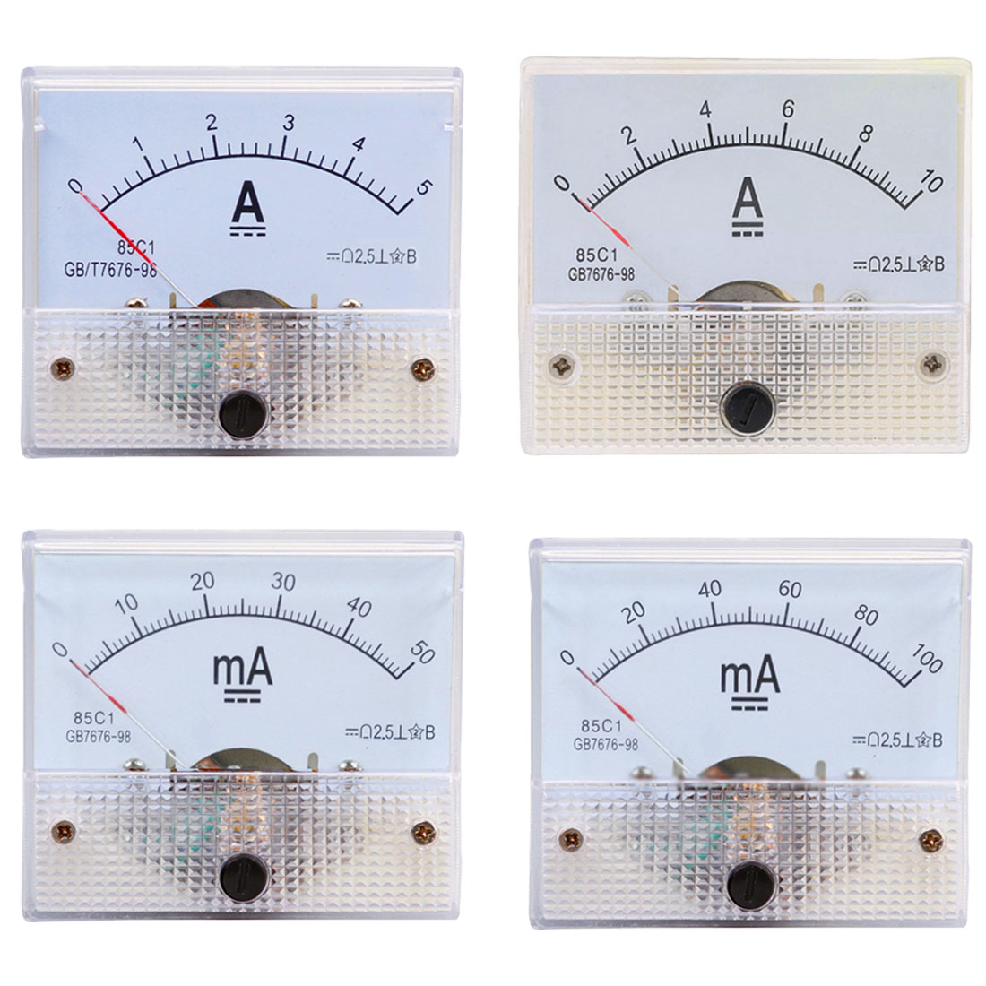 1Pc Analog Current Meter Panel 5A 10A 15A 20A 30A 50A <font><b>100A</b></font> Gauge <font><b>DC</b></font> Pointer Current Mechanical Ammeters Measuring Tools image