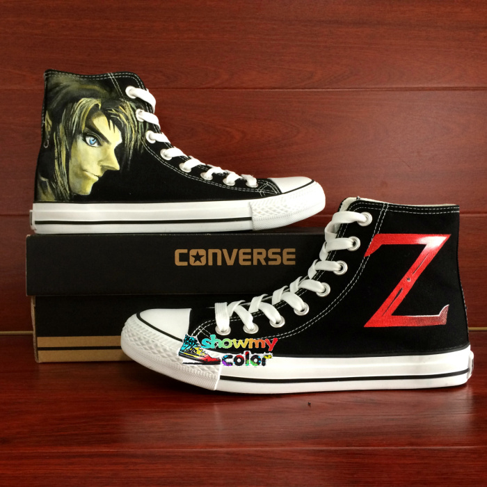 Prix pour D'origine Converse All Star Toile Chaussures La Légende de Zelda lien Z Design Peint À La Main Chaussures Femmes Hommes Sneakers Garçons filles