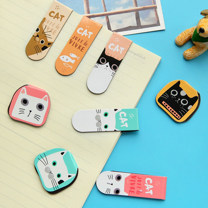 2 Pcs/Pack Kawaii Cat Magnetic Bookmarks Set Books Marker Paper Clip Escolar Papelaria Stationery Office Supplies 30 pcs box world famous scenery paper bookmarks kawaii stationery book holder message card school supplies papelaria kids gifts