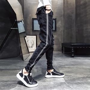 Image 3 - שחור מזדמן ג ינס גברים צד פסים שטף שרוך ג ינס מכנסיים זכר 2020 חדש Slim Fit למתוח מכנסי עיפרון איש