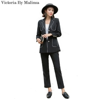2018 Fashion Womens Business Suits 2 Piece Blazer Set Black Slim Fit Female Office Lady Uniform