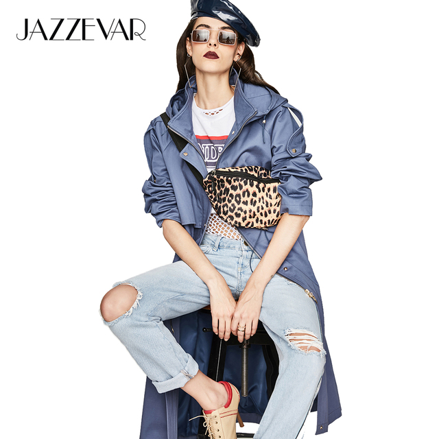 JAZZEVAR 2018 Autumn New Casual Women's Cotton X-Long Hooded Trench Coat Loose Clothing Oversized outerwear Good Quality
