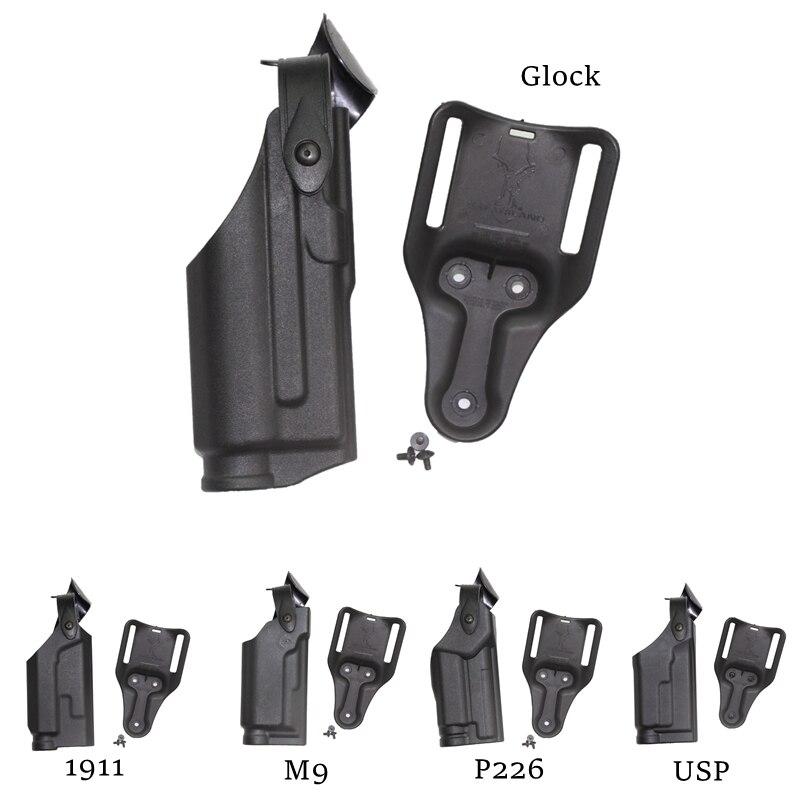 Funda de pistola con cinturón táctico con lámpara para Glock 17 19 1911 P226 USP M9 combate militar caza CSGame Lock pistola de cintura pistolera Funda para linterna WUBEN, funda de nailon con Flash táctico, funda cartuchera ajustable para linterna resistente, funda de transporte de 6