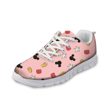 NOISYDESIGNS Pink Cute Women flat Shoes Sneakers Spring Fashion Lace-up Comfortable for Flat Woman Zapatos 2018
