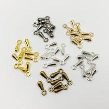 200 sztuk złota/rod/Antique Bronze Metal Water Drop koraliki końcowe 2*7 3*9mm przedłużka do łańcuszka wisiorek dostaw dla DIY biżuteria