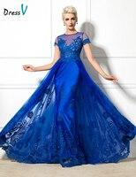 Dressv 2016 Jewel Neck Short Sleeve A Line Evening Dress Appliques Long Elegant Sexy Lace