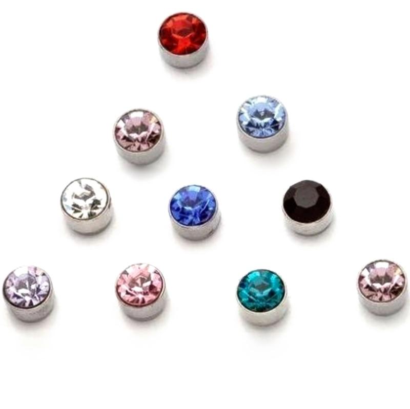 REGELIN 12 Pair/Lot 4/5/6/7mm Crystal Rhinestone Magnet Stud Earring Puck Women Mens Magnetic Fake Ear Plug Jewelry Dropshiping