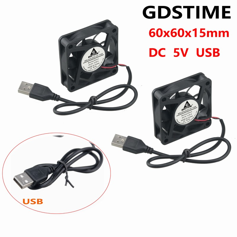 5 Pcs Gdstime <font><b>5V</b></font> <font><b>60mm</b></font> x 15mm 6015S Brushless DC Cooling <font><b>Fan</b></font> 60x60x15mm 6015 USB Computer CPU Case Cooler 6cm image
