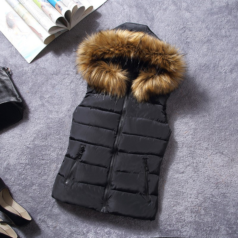 down vest with fur 0W0125 black