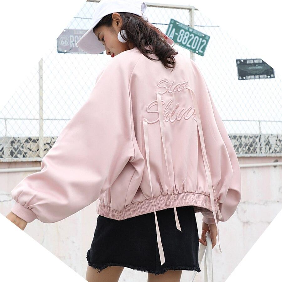 AULEAD Autumn Bomber Jacket Women Embroidery Plus Size Harajuku Coat Streetwear Vintage Oversize Korean Baseball Jacket Women