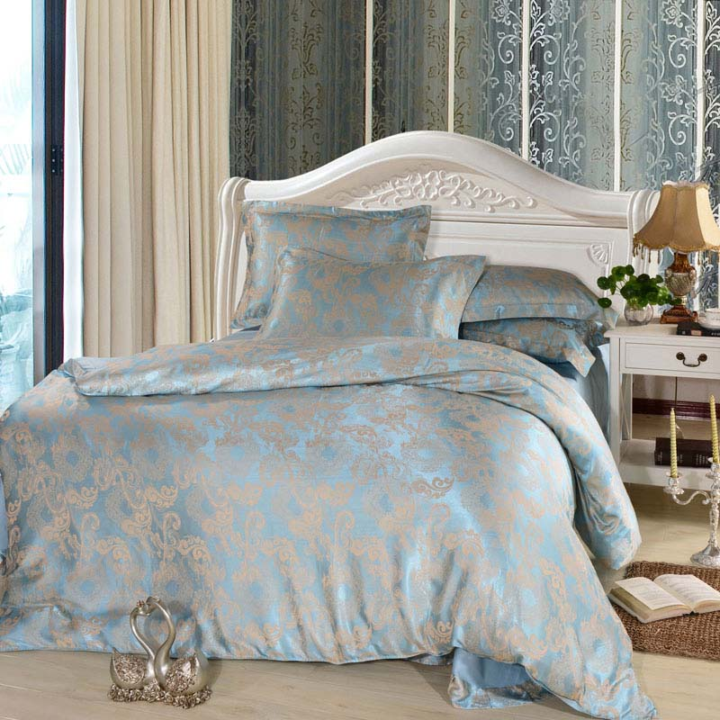 luxury 4pcs bed set home textile bed sheet satin jacquard ...