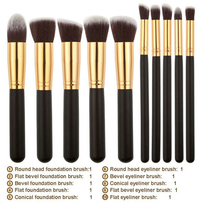 TOP Quality! Professional 10 PCS Cosmetics Makeup Brushes Set with ...