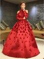 Myriam Fares Red Celebridade Vestidos de moda 2017 A Linha de Apliques com Manga Comprida Árabe Dubai Abiye Elegantes Vestidos de Noite