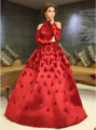 Myriam Fares Vestidos Rojos de La Celebridad de moda 2017 Una Línea de Apliques con Manga Larga Abiye Árabe Dubai Vestidos de Noche Elegantes