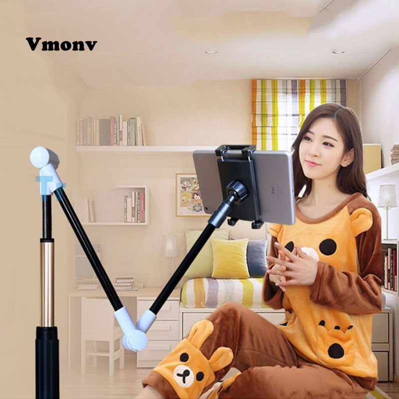 Vmonv Folding Long Arm Tablet Holder Stand For IPad 4-14 Inch 360 Rotation Strong Lazy Bed Tablet Mount Bracket For IPhone X XS