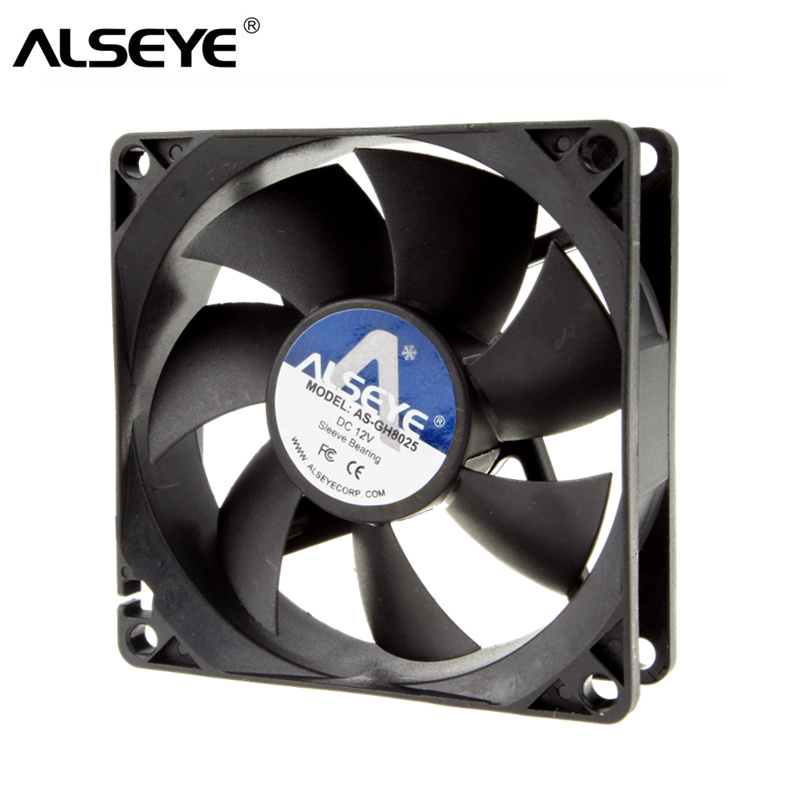 ALSEYE 12v 80mm Cooling Fan for Computer Axial 8cm Cooler Fan 3 Pin 1600RPM 8025 Case Fans sanyo 9wp0812h401 new imported japanese ip68 waterproof fan 8025 12v cooling fan