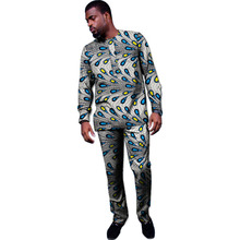 Private custom festival africa clothing men print tops+trousers patchwork african clothes for long sleeve shirt and pant set