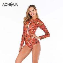 Женский купальник с цветочным принтом aonihua купальный костюм