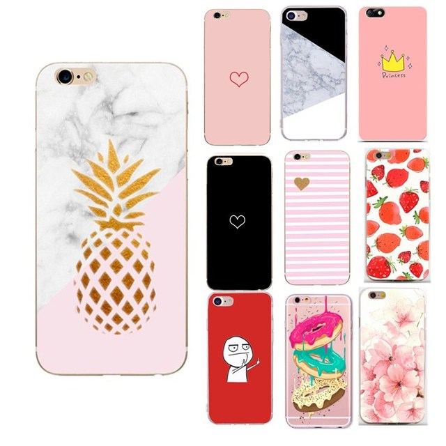 Para funda iphone 7 plus verano silicona piña capinha Coque para iphone 6s iphone 7 plus funda 8 8 Plus 5 5S SE funda de las mujeres