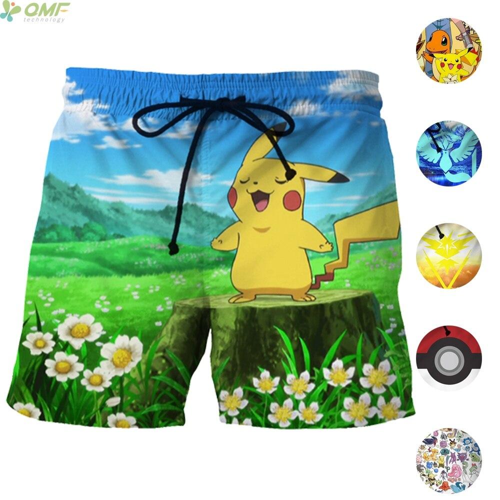 ef12cdf007 Cute Pikachu 3d Print Casual Shorts Male Fashion Mesh Short Pants Pokemon  Go Pikachu Beach Shorts