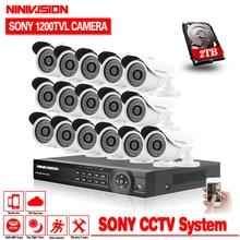 16channel HDMI 1080P AHD 1080N DVR CCTV HD 1/3″CCD 1200TVL security waterproof Camera video surveillance kit System 2TB HDD