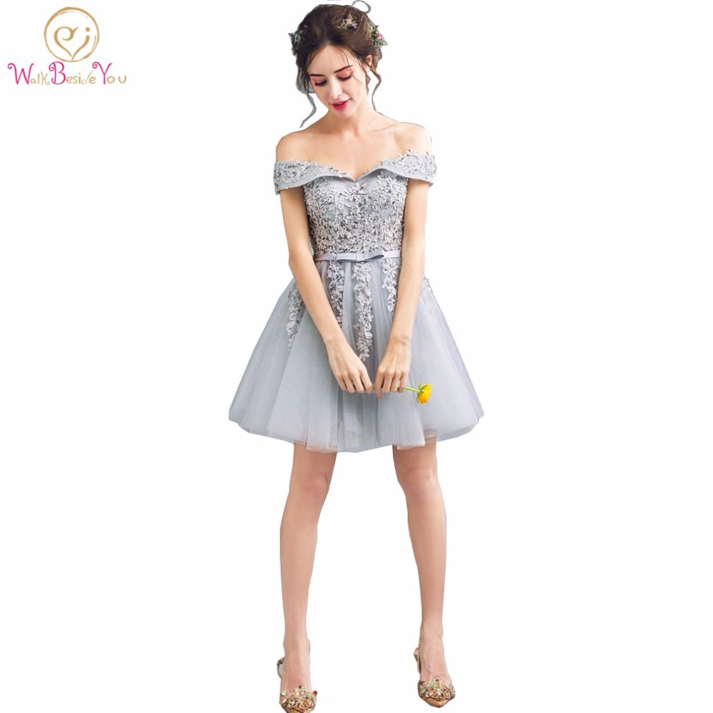Walk Beside You Real Picture Gray   Bridesmaid     Dresses   Lace Applique Beaded Short vestidos de dama de honra mulheres Customize