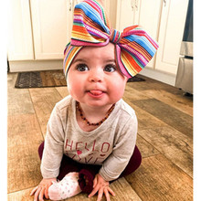 2019 Baby Headband Handmade Elastic Turban Headwraps Toddler Lovely Big Bow Design Floral Printed Hair Band Infant Headwear