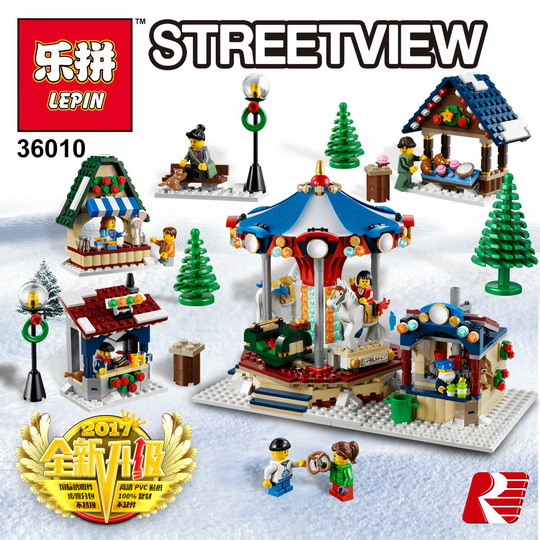 Lepin 36010 Creative Series 1412Pcs The Winter Village Market Set 10235 Building Blocks Bricks Educational Toys Christmas Gift lepin 36010 genuine creative series the winter village market set legoing 10235 building blocks bricks educational toys as gift