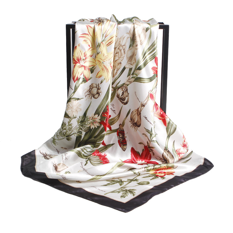 2017 Autumn Winter Silk   Scarf   Women Colors Flowers Print   Scarf   New Designer Basic Brand Quality Shawls Women's   Scarves   and   Wraps