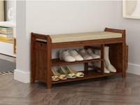 Natural Bamboo Shoe Storage Rack Bench with 2 Tier Cushion Seat Living Room Shoe Organizer Entryway Storage Hallway Furniture