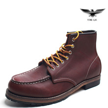 Handmade RED  leisure boots leather  Martin Goodyear  work shoes for men safety shoes