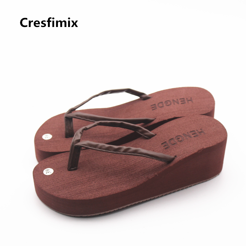 Cresfimix women fashion soft beach flip flops lady casual 5.5cm high heel eva bottom flip flops cute comfortable flip flops cresfimix women fashion