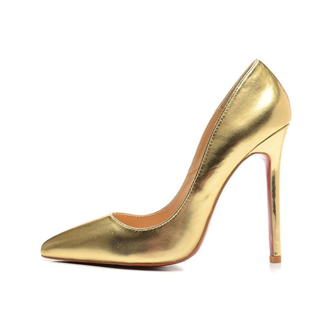 9404bb17fc Fashion Brand Women Golds Shoes Metallic Leather Pointed toe High Heels  Gold Bronze 12cm Heels Women Pumps Euro Size 35-42