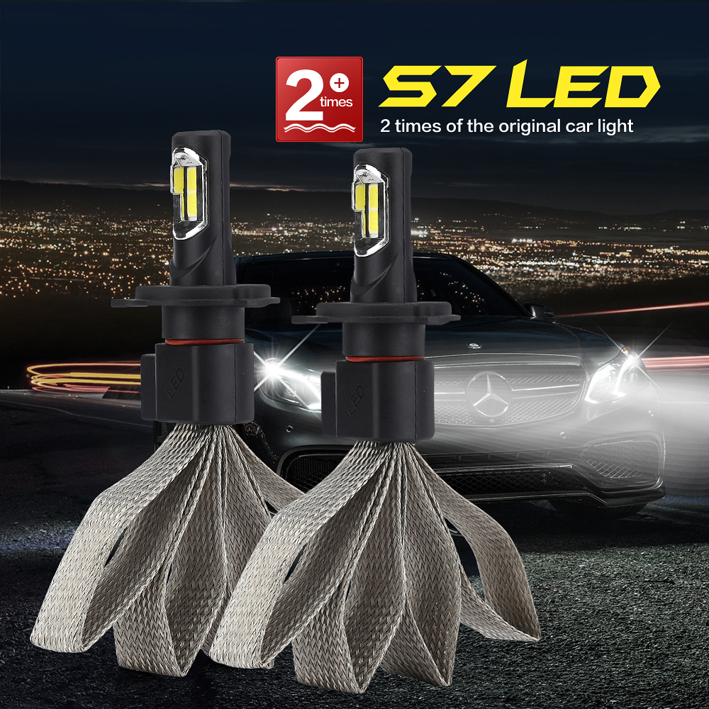 CROSSLEOPARD Car LED Headlight with Heat Radiation S7 12000LM Lamp Auto Bulb Lights H1 H3 H4 H7 H11 H13 H27 HB1 HB3 HB4 9006 HB5