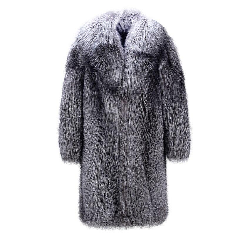 S 5XL Новая мода высокая имитация лисы мех животных Тренч толщина длинное пальто зима искусственный пальто для мужчин костюмы