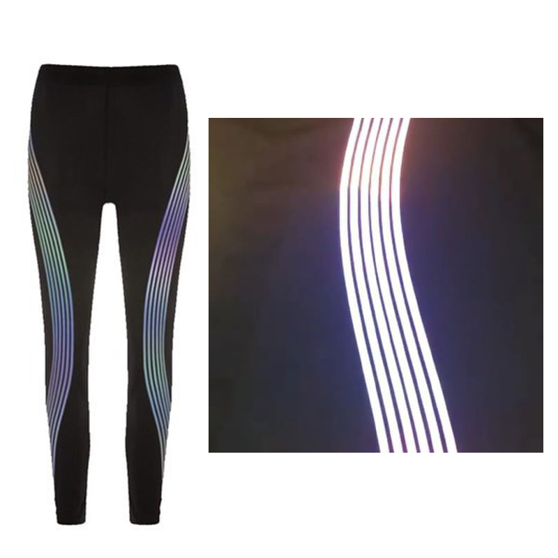 49ba3eebb1d0c6 Detail Feedback Questions about 2018 women reflective leggings glow in the  dark night light side stripes shiny sports yoga pants dance tights  sportswear ...