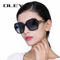 Oley óculos de sol oversized feminino design da marca de luxo elegante óculos polarizados femininos prismáticos óculos sol mulher