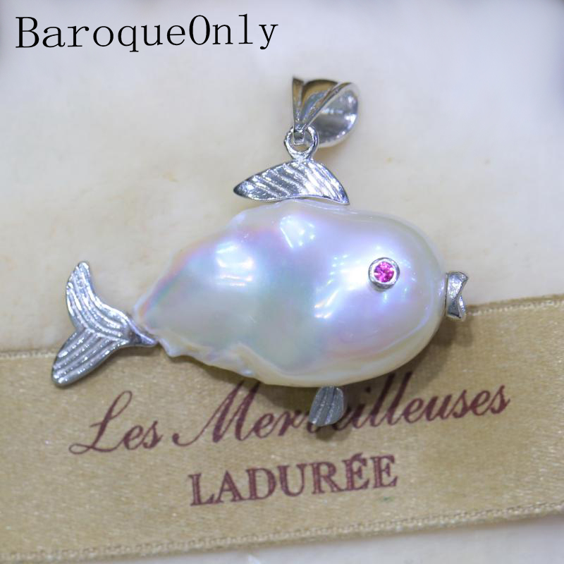 BaroqueOnly Baroque pearl FISH pendant necklace natural freshwater white, pink pearl cute lovely gifts for girlfriend