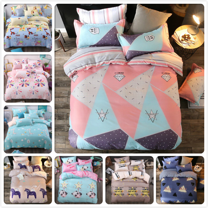New Stylish 3/4 pcs Bedding Set 1.2m 1.5m 1.8m 2m 2.2m Bedsheet Quilt Duvet Cover Full King Queen Single Size Bedlinen Bed Linen