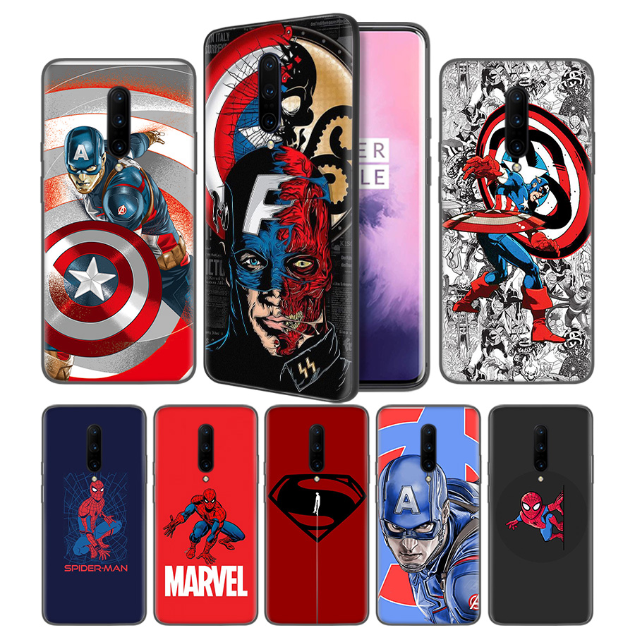 Marvel Batman Spiderman Captain AmeSoft Black Silicone Case Cover for font b OnePlus b font 6