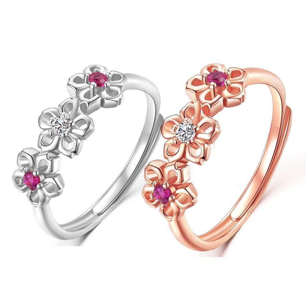 2019 Новый Кристалл Роза цвета: золотистый, серебристый цвет кольца кубический циркон сливы кольцо для свадебное кольцо для женщин ювелирные ...