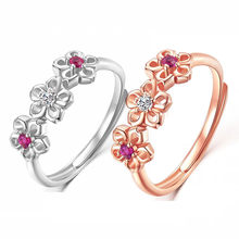 2019 New Crystal Rose Gold Silver Color Rings Cubic Zircon Plum Blossom Ring For Women Engagement Wedding Jewelry Bijoux Gifts(China)