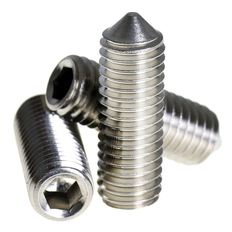 все цены на  Stainless steel Cone Point Grub Screws Hex Socket Set Screw Silver, M4*30mm 100pcs  онлайн