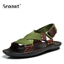 Summer Beach Shoes Sandals 2017 Fashion Designers Men Sandals Brand Leather Slippers For Men Zapatos Sandalias Hombre 38-44