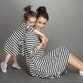 2016 Nuevo Estilo de Primavera y Verano Trajes A Juego de La Familia Madre E Hija Caída Completa Balck Rayas Vestido de Marca Venta Caliente