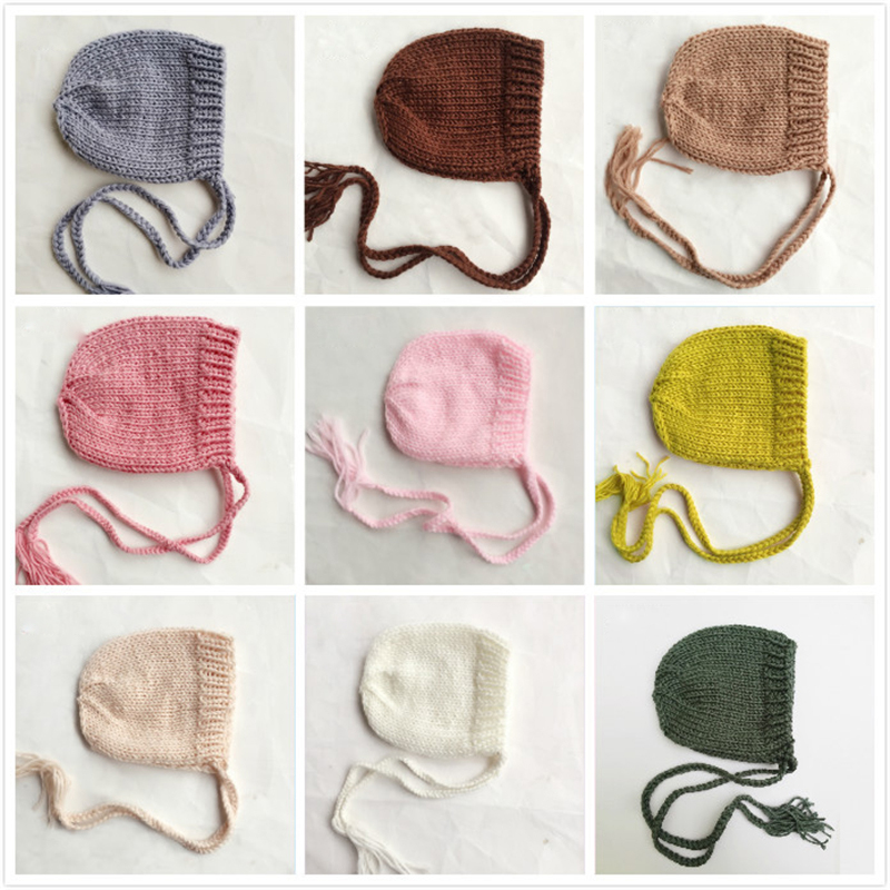 Soft Knitted Baby Hat Newborn Photo Props Caps Solid Color Infant Boy Girl Crochet Beanie Autumn Winter Xmas Bonnet Accessories