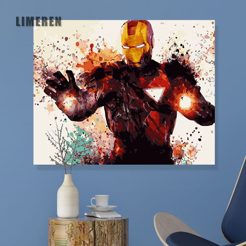 Frameless Picture On Wall Acrylic Paint By Numbers DIY Painting By Numbers Unique Gift Oil Painting The Avengers Iron Man